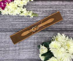 Стильный ремень коричневого цвета с кожаными элементами  AS18131
