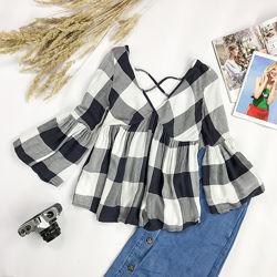 Блуза в клетку с красивой спинкой  BL 1951107, BL 1951102
