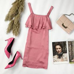 Романтичное платье цвета нюд с оборками на груди DR 1951089