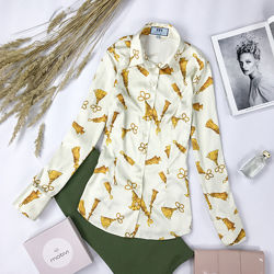Брендовая приталенная рубашка с принтом BL 1951164