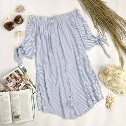 Натуральное платье-рубашка в полоску с открытыми плечами BL 1952047
