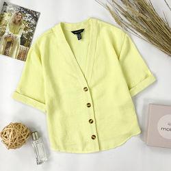 Трендовая светло-желтая блуза оверсайз на пуговицах BL 1952073