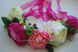 Обруч  венок цветочный  ручной работы