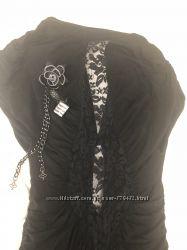 Стильное итальянское платье черного цвета, размер M