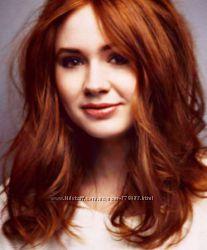 Волосы термо на клипсах на одной ленте 5 заколок рыжие 50 см
