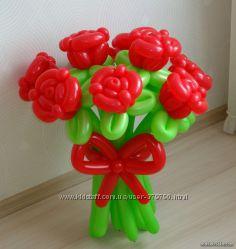 Букеты цветов, корзины с цветами фигуры, композиции из воздушных шаров