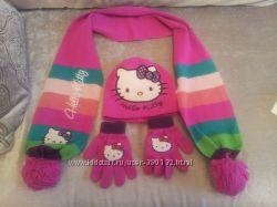 hello Kitty набор шапка, варежки, шарф