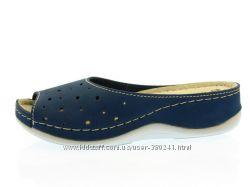 Женские синие шлепанцы Inblu в дырочку 3637PT028 с 36 по 41