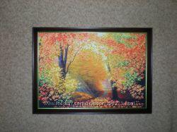 вышитая бисером картина Разноцветная осень