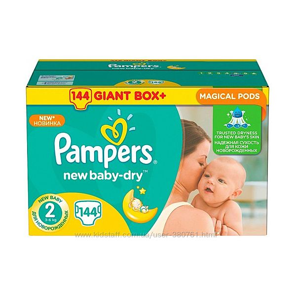 Pampers Подгузники New Baby 2 Mini 3-6кг 144 шт   памперс, памперсы