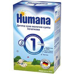 Humana Молочная смесь 1 с пребиотиками ГОС 0м 600г Выгодная цена. Хумана