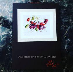 набор вышивка lanarte Fuchsia in Watercolour  Фуксия в акварели
