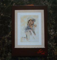 Набор вышивка lanarte Lady with lilac flower Sara Moon