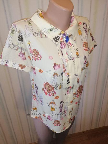 блуза с принтом девочки 46 р-р