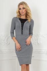Офисное платье футляр серого цвета V&V- 46р.