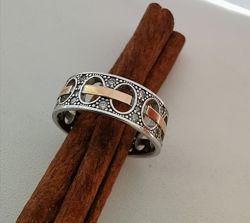 Кольцо с  золотыми напайками. Родий.