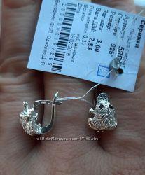 Лягушка с монетой. Серебряные серьги.