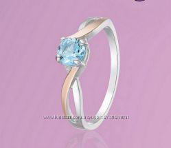 Серебряное кольцо с золотыми напайками. Р. 17. 5