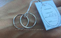 Серебряные серьги-кольца. Родий.