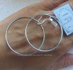 Серебряные серьги-кольца. D 4см. Родий.