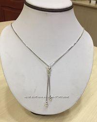 Серебряная цепь Снейк с узелком.