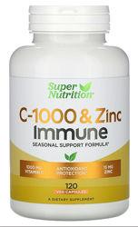 Super Nutrition, C-1000  и Цинк , комплекс иммунитет 120 шт
