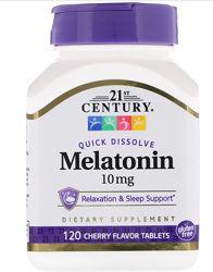 21st Century, Мелатонин, вишневый вкус, 10 мг, 120 быстрорастворимых таблет