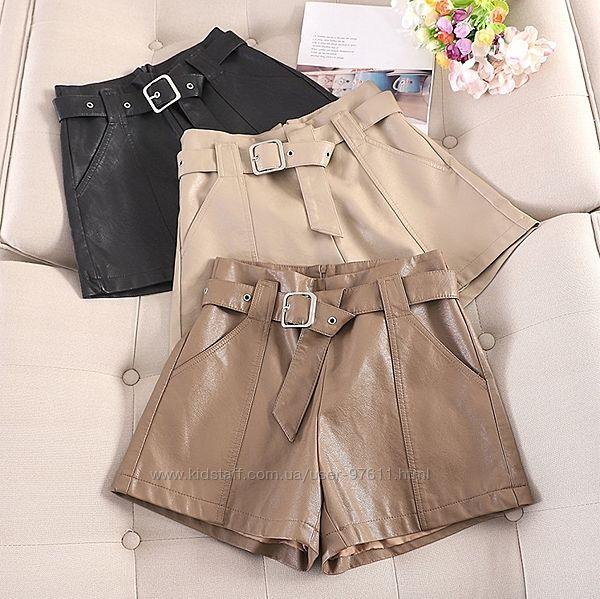 Модні жіночі шорти з екошкіри осінь зима весна розміри S M L