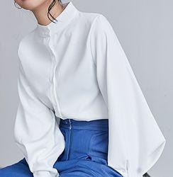 Жіноча блузка з пишним рукавом білого, синього, чорного  кольору S-XL