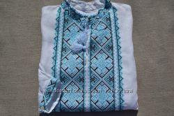 Льняная вышиванка Классик голубая