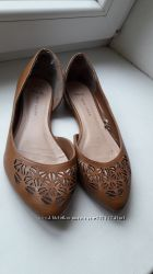 Балетки коричневые с прошвой острый носок