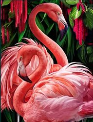 Алмазная вышивка Пара фламинго 30х40 см діамантова вишивка