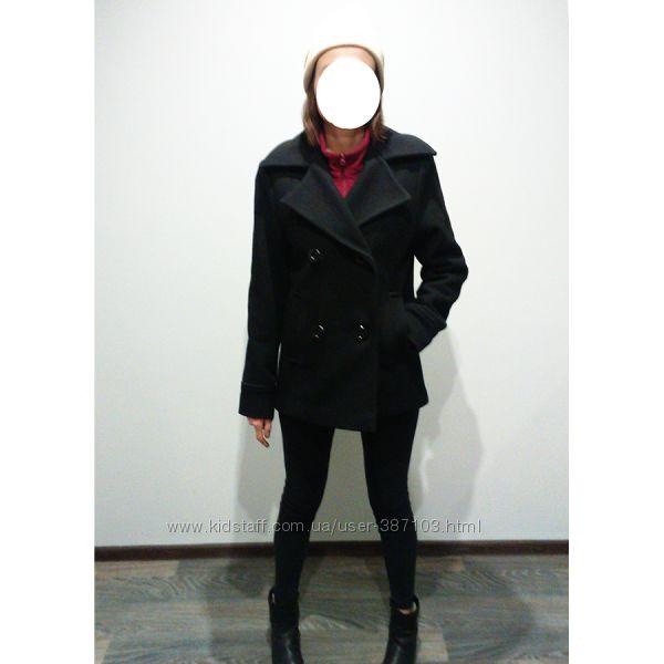 Полупальто, пальто бушлат женское черное, стопроцентная шерсть