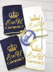 Подарочные полотеничка с вышивкой любого текста. Бренд Exclusive