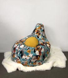 Кресло пуф, груша, 130х90 см, ткань с принтом