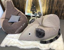 Кресло пуф игрушка Мышонок, бескаркасная мебель для ребенка