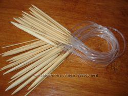 Спицы для вязания бамбуковые и металлические круговые