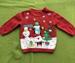 Новогодний свитер кофта TU размер 3 месяца 62см в отличном состоянии