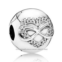 Клипса с сердцем и символом бесконечности Pandora