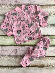 Пижама с начёсом для девочки рост 86, 92, 98, 104, 110 см на 1, 2, 3, 4, 5