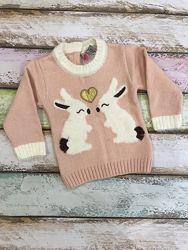 Тёплый свитер для девочки на 1, 2, 3 года с зайчиком