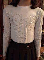 Блузка с бусинами школьная рост 134 - 140