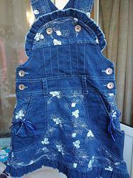Сарафан джинсовый рост 110 - 116 см. на 5 - 6 лет.