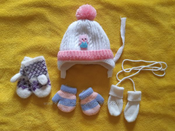 Зимняя шапочка на  девочку 1-2 года.