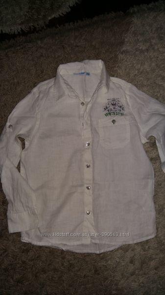 Льняная рубашка Wenice, на 9 лет рост 134 см. Состав 100  Лён. Цвет белый.
