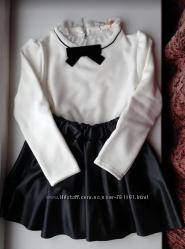 Блузка нарядная флисовая теплая школьная форма на 5-8лет