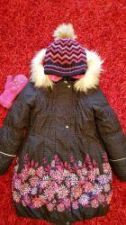 Продаю красиве зимове пальто та шапку на дівчинку, 134 розмір, lenne