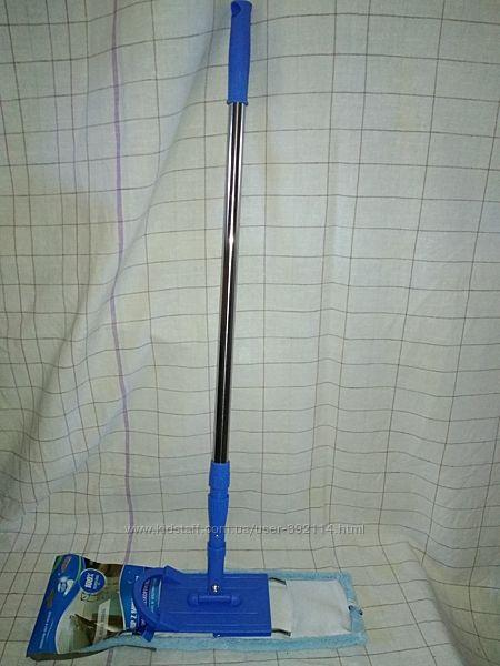швабра плоская микрофибра с длинной ручкой