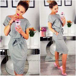 Серое свободное платье Rita Код 180