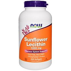 Now Foods, Подсолнечный лецитин, 1200 мг, 200 мягких желатиновых капсул